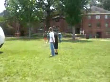 Kid vs. Giant Soccer Ball