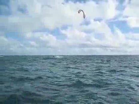 Kite Surfer Tries to Jump Boat